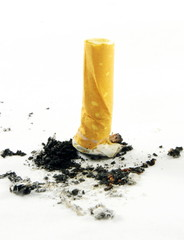 Close up of the cigarette butt with ash