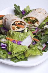 Veggie wrap and a salad.