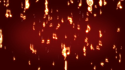 Musical signs and notes on darkly red background