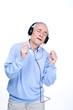 Senior man singing
