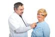 Mature doctor man examine patient woman
