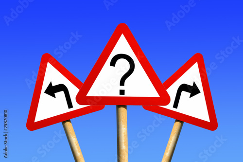 Question mark & directional arrow signs decision concept