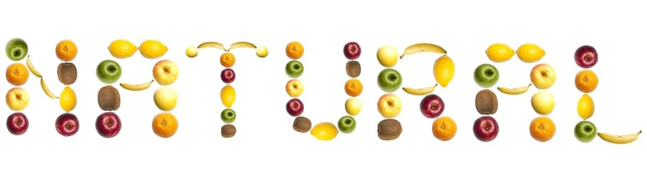 Natural word made of fruits
