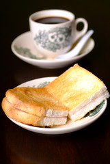 Hainaness toast bread with black coffee
