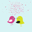 Birds kiss. Cute valentine`s card