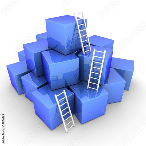 Batch of Shiny Blue Boxes - Climb up with Bright White Ladders