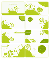 set of 8 business card on green little planet earth theme