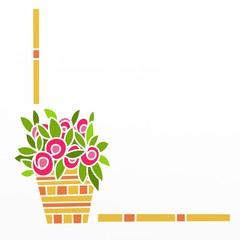 decorazione con vaso di fiori