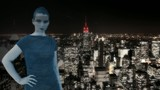 Hologram of a woman in front of New York poster