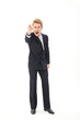 Angry businessman pointing his finger and shouting