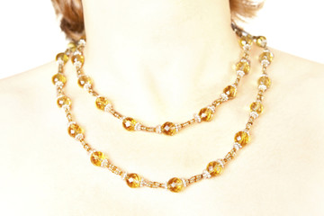 Double Strand Necklace Citrine and Silver