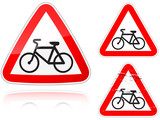Intersection with the bike road - road sign poster