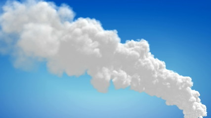 Chimney flue smoke timelapse over blue sky