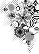 Vector black and white circles background