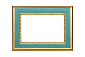 Gold-turquoise frame isolated on white background
