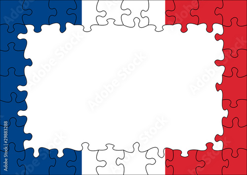 France flag puzzle border