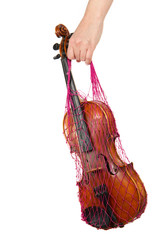 Female hand holding a red mesh with the violin, isolated, on a w