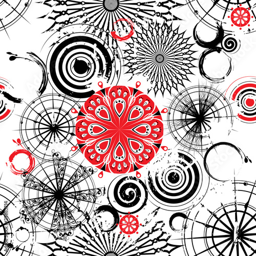 Vector black and white circles seamless grunge background