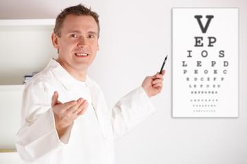 Oculist doctor examining patient
