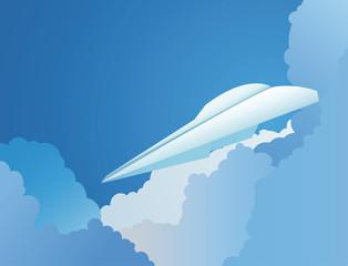 Paper plane flying in sky