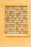 Yellow Window with Opaque Orange White Glass poster