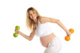 Pregnant woman involved in fitness dumbbells poster