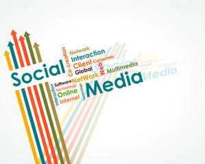 Social media mind map with upward arrows - eps10