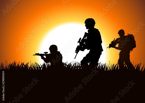 Foto op Plexiglas Militair Silhouette illustration of soldiers on the field