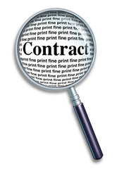 Magnifying glass contract fine print agreement  legal guide