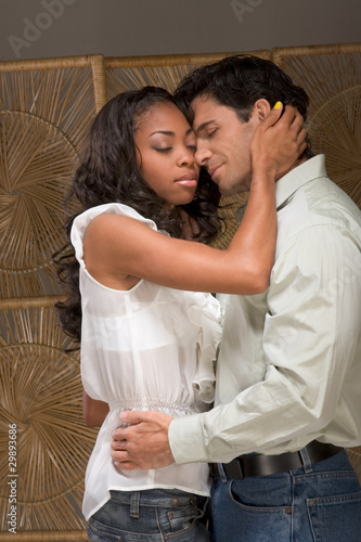 Young couple Man and woman in love kissing