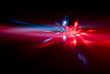 Leinwanddruck Bild - Laser mit Rotlicht und Diskokugel