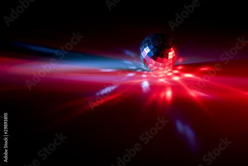 Leinwanddruck Bild Laser mit Rotlicht und Diskokugel