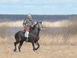 The soldier in a chain armour and a helmet skips astride a horse