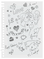 Hand-drawn love doodles