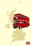 double-decker and Great Britain map