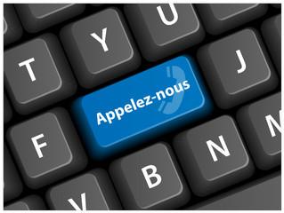 """Touche """"APPELEZ-NOUS"""" sur clavier (service clients contact)"""
