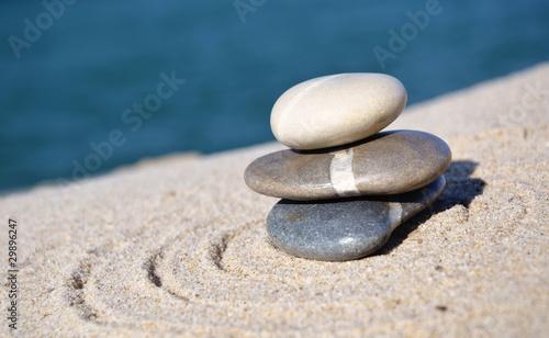 Papiers peints Zen pierres a sable 3 galets ambiance calme et reposante