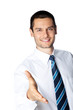 Smiling businessman giving hand for handshake, isolated