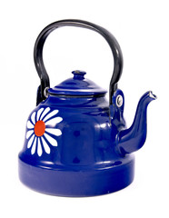 Blue enamel kettle isolated on white.
