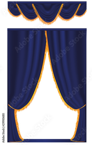 Vector blue curtain