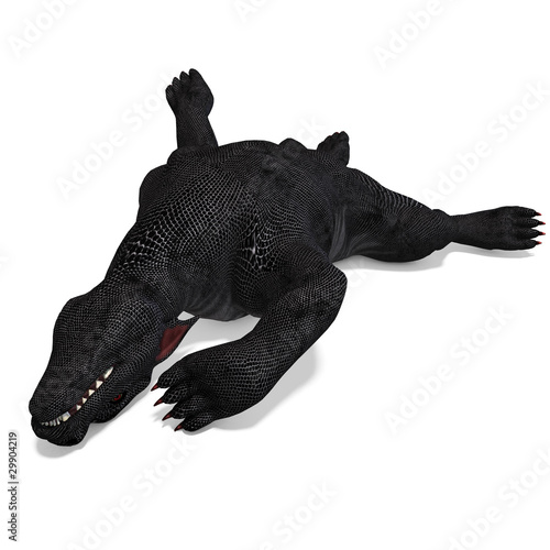 a fantasy creature out of hell. 3D rendering with clipping path