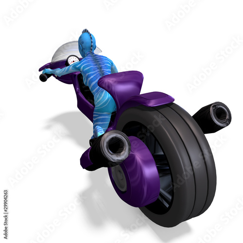 blue female alien on a futuristic bike. 3D rendering with