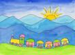 Spielzeugeisenbahn im Gebirge
