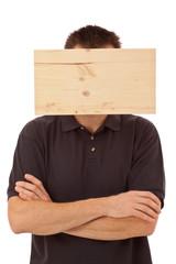 Mann mit Denkblockade - Brett vorm Kopf