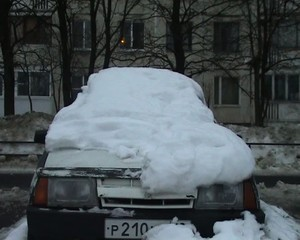 car filled up with snow