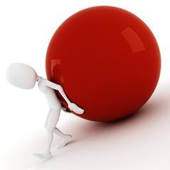 3d man pushing a ball up hill