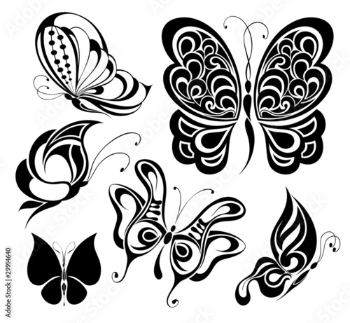 Set of tattoo butterflies