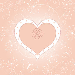 Vintage floral heart with rose greeting card