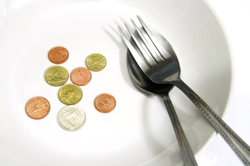 Asia coins in white plate with spoon