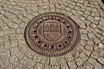 Drain hatch in Prague, Czech republic